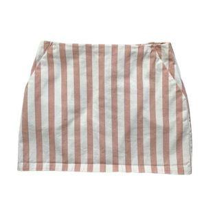 Forever 21 White/Pink Striped Denim Mini Skirt M